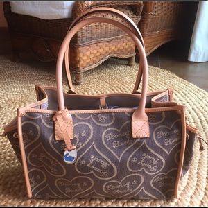 Dooney & Bourke Canvas Heart Handbag, Leather Trim